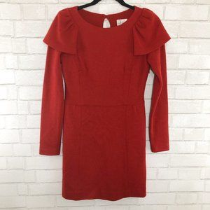 Milly of New York Red Shoulder Ruffle Dress